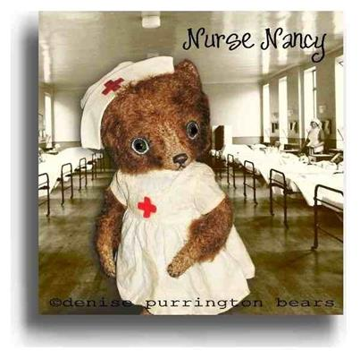 Nurse Nancy by Award Winning One Of A Kind Handmade Mohair Teddy Bear Artist Denise Purrington of Out of The Forest Bears