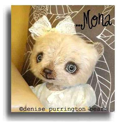 Mona by Award Winning One Of A Kind Handmade Mohair Teddy Bear Artist Denise Purrington of Out of The Forest Bears