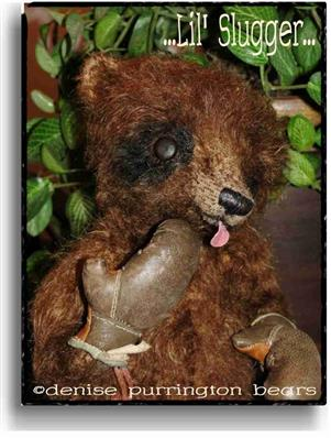 Lil' Slugger  - Handmade Teddy Bears, Mohair Teddy Bears, Artist Teddy Bears by Award Winning Artist Denise Purrington