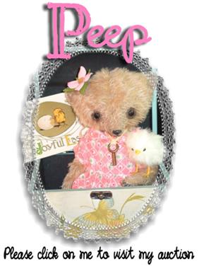 Peep on Ebay from handmade mohair teddy bear artist Denise Purrington