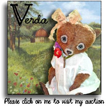 Verda up on Ebay from handmade mohair teddy bear artist Denise Purrington