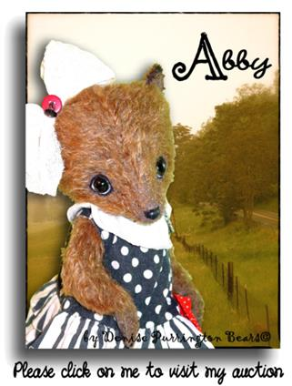 Abby up on Ebay from handmade mohair teddy bear artist Denise Purrington