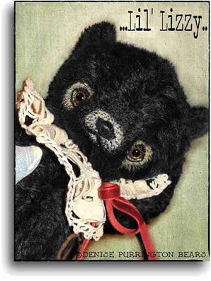Lil' Lizzy available for adoption from award winning handmade mohair bear artist Denise Purrington