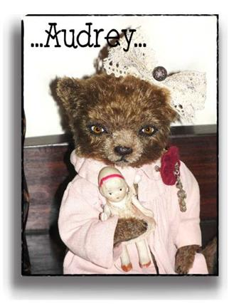 Audrey  - Handmade Teddy Bears, Mohair Teddy Bears, Artist Teddy Bears by Award Winning Artist Denise Purrington